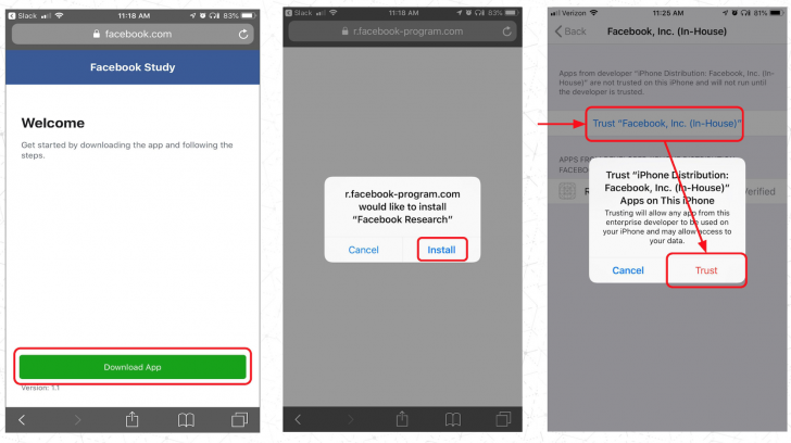 Facebook จ้างผู้ใช้สมาร์ทโฟน $20 ให้ติดตั้ง VPN สำหรับเก็บข้อมูลการใช้มือถือ และเล่นเว็บ