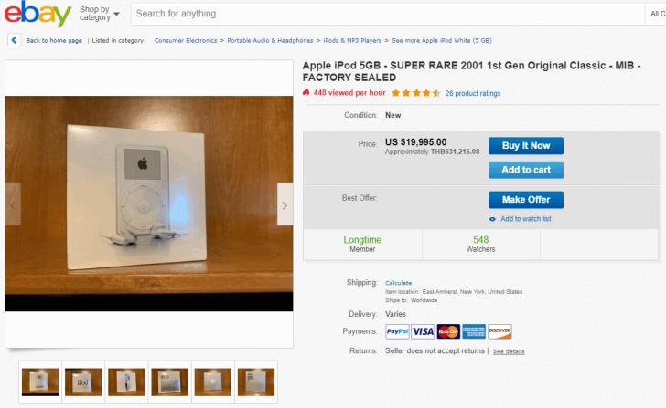 iPod รุ่นแรก สภาพยังไม่แกะกล่อง ถูกวางจำหน่ายบน ebay ในราคาหกแสน !