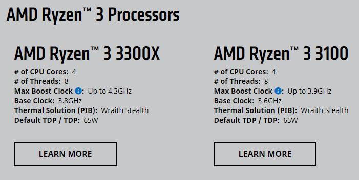 AMD เปิดตัวซีพียูรุ่นใหม่ราคาประหยัด Ryzen 3 3100 และ Ryzen 3 3300X
