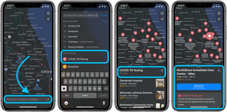 Apple เพิ่มการอัปเดตสถานที่รับตรวจ COVID-19 ใน Apple Maps